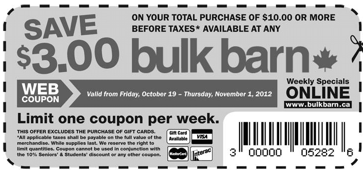 bulkbarn Bulk Barn: Save $3 off on Your Purchase of $10 or More