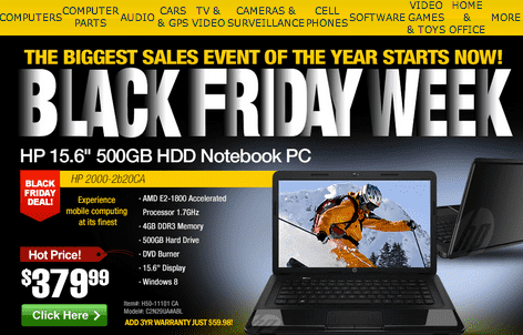 Screen Shot 2012 11 20 at 2.55.50 AM TigerDirect.ca Black Friday Week Sale Event