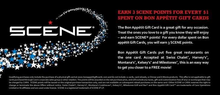 scene main 730x318 Earn 3 Scene Points for Every $1 Spent on Bon Appetit Gift Cards