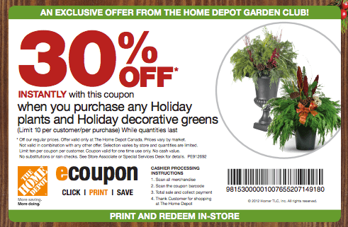 Home Depot Printable Coupons December 2014