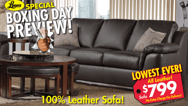 Leon s special boxing day preview 100 leather sofa only for Boxing day meuble leon