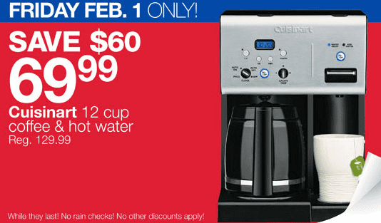 Home Outfitters Offer Cuisinart 12 Cup Coffee Machine