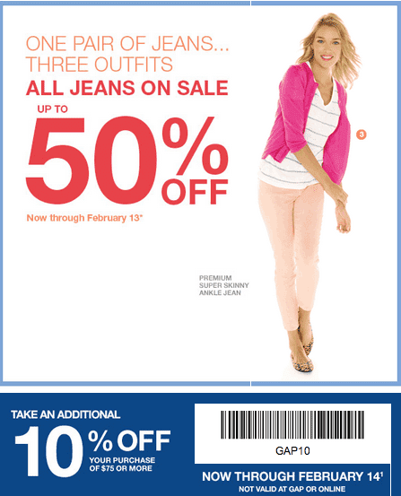 Gap Outlet Printable Coupon Plus All Jeans Up To 50% Off - Hot ...