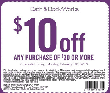 bath body works coupon 10 off your next purchase of