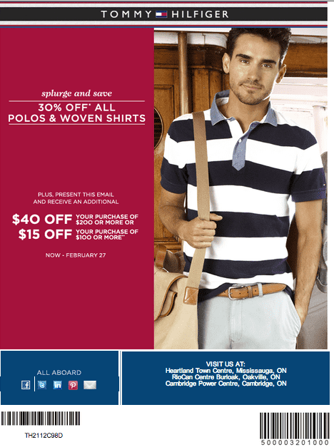 tommy hilfiger coupon 30 off all polos woven shirts 40 off 200 or 15 off 100 hot. Black Bedroom Furniture Sets. Home Design Ideas