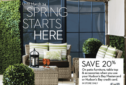 Hudson S Bay 20 Off On Patio Furniture Amp Accessories
