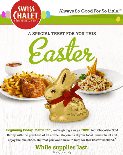 Screen Shot 2013 03 27 at 11.06.37 PM Swiss Chalet Easter Gift: Free Lindt Chocolate Gold Bunny With Entree Purchase!