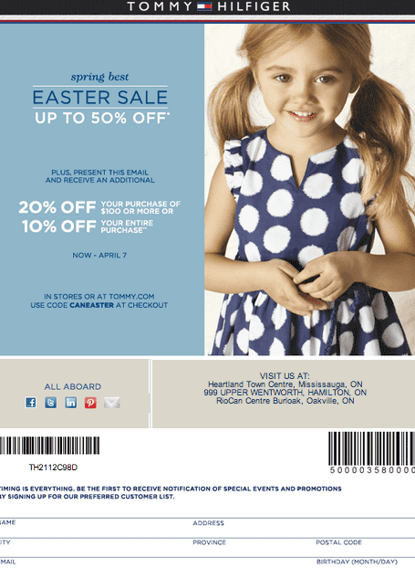 tommy hilfiger canada coupon easter sale up to 50 off 20 off 100 purchase or 10 off. Black Bedroom Furniture Sets. Home Design Ideas