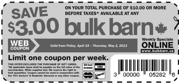 Screen Shot 2013 04 19 at 5.20.45 PM Bulk Barn Coupons: Save $3 When You Spend $10 + Free Reusable Bag!