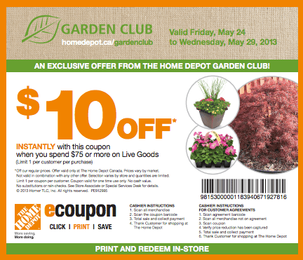 The Home Depot Garden Club Coupons Save 10 On 75