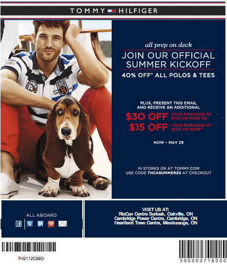 Tommy hilfiger discount coupons canada