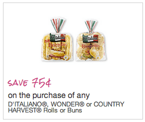 Canadian Coupons Save.ca Coupons: Save 75¢ off D'Italiano, Wonder, or Country Harvest Rolls or Buns
