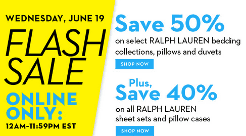 Hudson's Bay Flash Sale Hudson's Bay Flash Sale: Save 50% on Ralph Lauren Bedding!