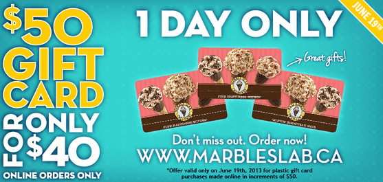 Marble Slab Offers Marble Slab Offers: Get a $50 Gift Card for Just $40 + Free Birthday Cone!