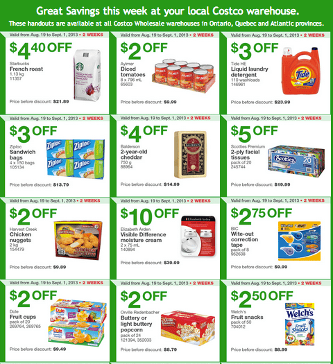 Costco Canada Eastern Coupons  Costco Canada Eastern Weekly Instant Handouts: (Ontario, Quebec & Atlantic) From August 26, Until Sepember 1, 2013