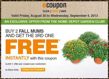 Garden club coupons home depot