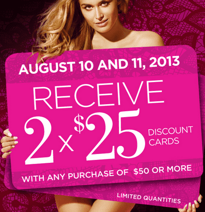 La Vie en Rose Offers La Vie en Rose Canada Offers: Get 2 x $25 Discount Cards with Your Purchase of $50