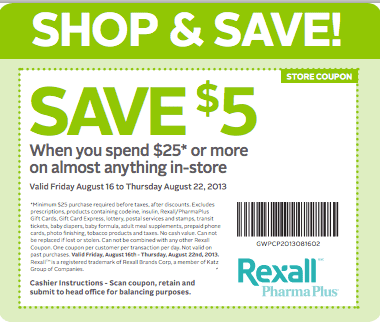 Rexall Pharma Plus Coupons Rexall Pharma Plus Coupons: Save $5 When You Spend $25 on Anything In Store!