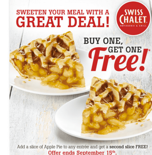 Swiss Chalet Canada Deals Swiss Chalet Canada Deals: Buy One Apple Pie With Your Entree & Get One Free!