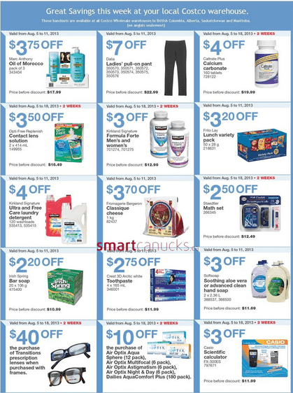 c3 Costco Canada Weekly Instant Handouts: (BC, AB, SK & MB) August 5 to 11