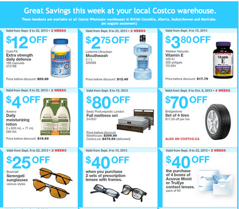 C1 Costco Canada Western Weekly Instant Handouts: British Columbia, Alberta, Saskatchewan & Manitoba, September 9 to 15, 2013