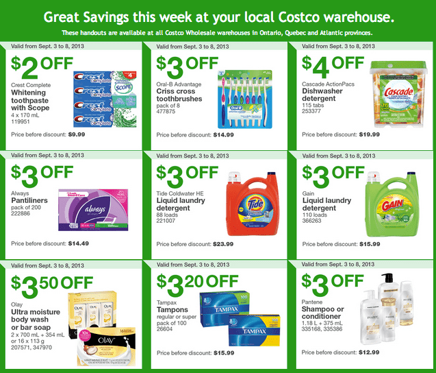 Costco Coupons Costco Canada Eastern Weekly Instant Handouts: Ontario, Quebec & Atlantic, September 3 to 8, 2013