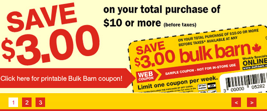 bulk Bulk Barn Canada Coupon: Save $3.00 When You Spend $10