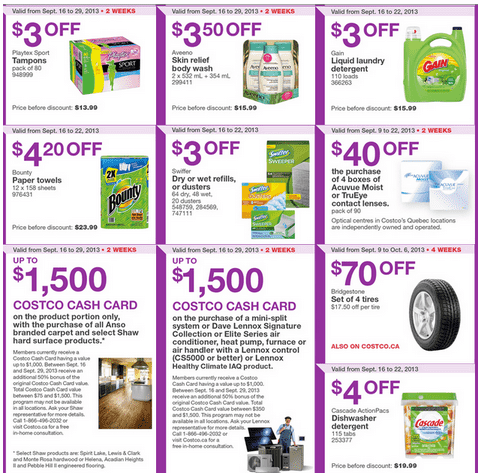 c22 Costco Canada Eastern Weekly Instant Handouts: Ontario, Quebec & Atlantic, September 16 to 22, 2013
