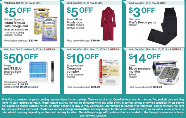 Costco Canada Eastern Weekly Instant Handouts Coupons Costco Canada Eastern Weekly Instant Handouts: Ontario, Quebec & Atlantic, October 21to 27, 2013