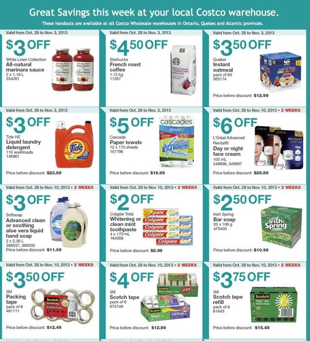 Costco Canada Eastern Weekly Instant Handouts Costco Canada Eastern Weekly Instant Handouts: Ontario, Quebec & Atlantic, October 21to 27, 2013