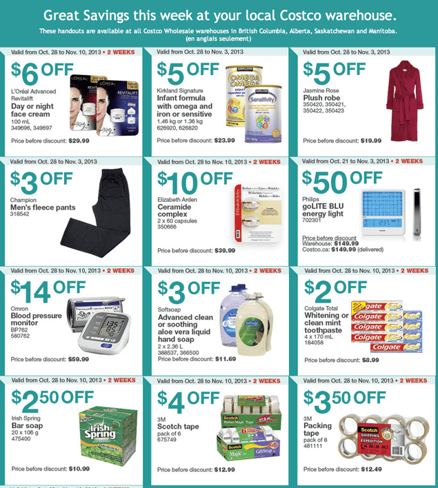 Costco Canada Western Weekly Instant Handouts1 Costco West Canada Weekly Handouts: British Columbia, Alberta, Saskatchewan & Manitoba From, October 28 to November 3, 2013