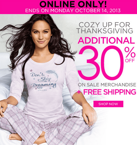 La Vie en Rose Canada Thanksgiving Deals  La Vie en Rose Canada Thanksgiving Offers: Take an Additional 30% off on Sale Merchandise + FREE Shipping!