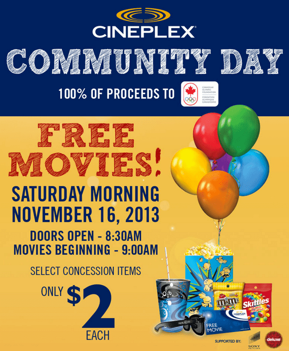 z1383047492 small Cineplex Canada Community Day Offers: Free Movies + $2 Concessions