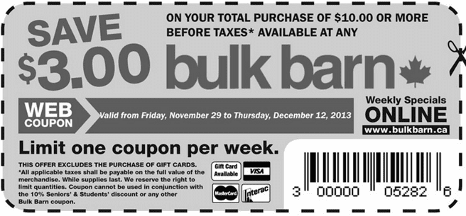 Bulk Barn – Coupon Savings Bulk Barn Coupons & Weekly Specials: Save $3 on $10 Purchase Plus Save 30% on Select Merchandise