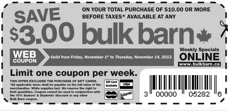 Bulk Barn Offers   Bulk Barn Canada Printable Coupons: Save $3.00 on Your Total Purchase of $10 or More