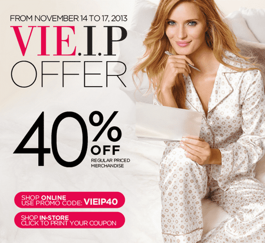 La Vie en Rose Sale La Vie en Rose Canada Coupons: Save 40% on Regular Priced Merchandise!