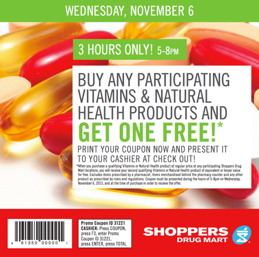 Shoppers drug mart coupons buy one get one free vitamins for Gardening naturally coupon