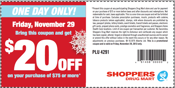 Shoppers Drug Mart Coupon Shoppers Drug Mart Black Friday 2013 Deals & Printable Coupon for $20 OFF