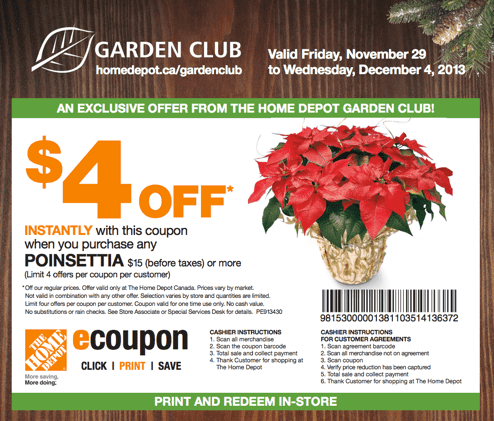 The Home Depot Canada Garden Club Coupons Save 4 When You Purchase Any Poinsettias Hot