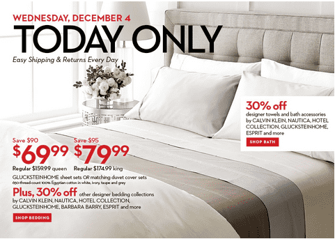 Bay Hudson's Bay Canada Deals: Save 56% on Gluckstein Home Sheet Sets or Duvet Cover Sets