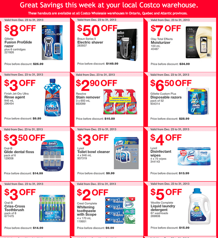 Costco Canada East Coupons  Costco Canada Weekly Instant Coupons for East: Ontario, Quebec & Atlantic Provinces, December 23 to 31