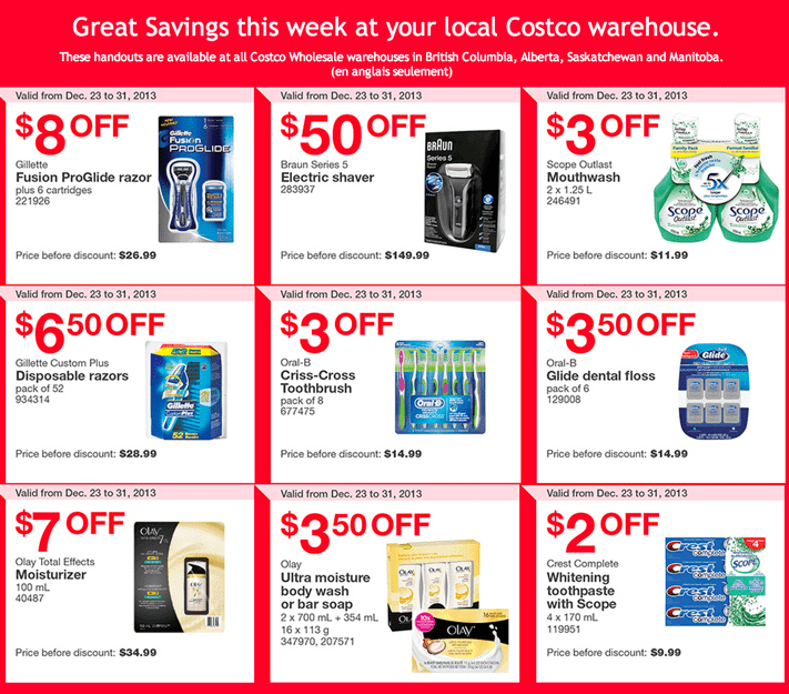 Costco warehouse Coupon for West Canada Costco Canada Western Weekly Instant Handouts Coupons: British Columbia, Alberta, Saskatchewan & Manitoba Provinces, Dec 23 to 31