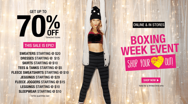 Garage canada boxing day sale save up to on selected