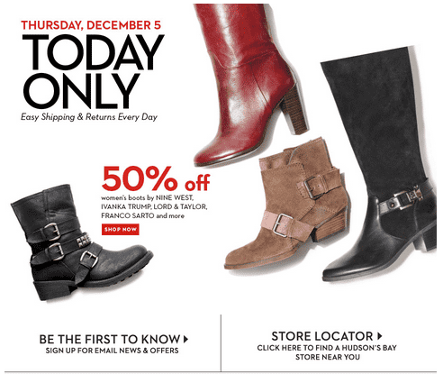 Hudsons Bay Canada Hudson's Bay Canada 1 Day Deals: Get 50% Off Womens Boots Today Only