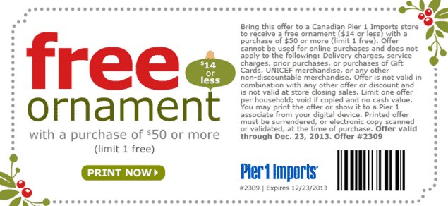 Pier 1 Imports Canada coupon Pier 1 Imports Canada Coupons: FREE Ornament with a Purchase of $50