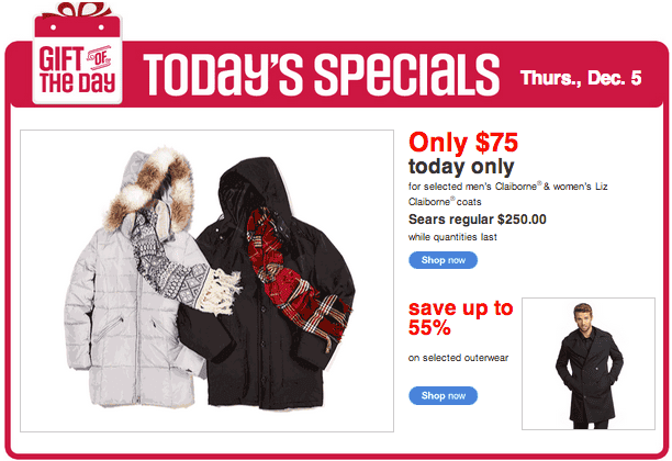 Sears Canada Deal of the Day Sears Canada Gift Of The Day: Get 70% Off Selected Mens Claiborne & Womens Liz Claiborne Coats