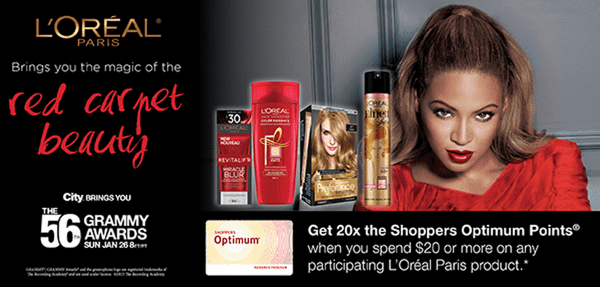 Shoppers Drug Mart Canada Offers2 Shoppers Drug Mart Canada Offers: Get 20x the Shoppers Optimum Points when You Spend $20 on Any LOréal Paris Product