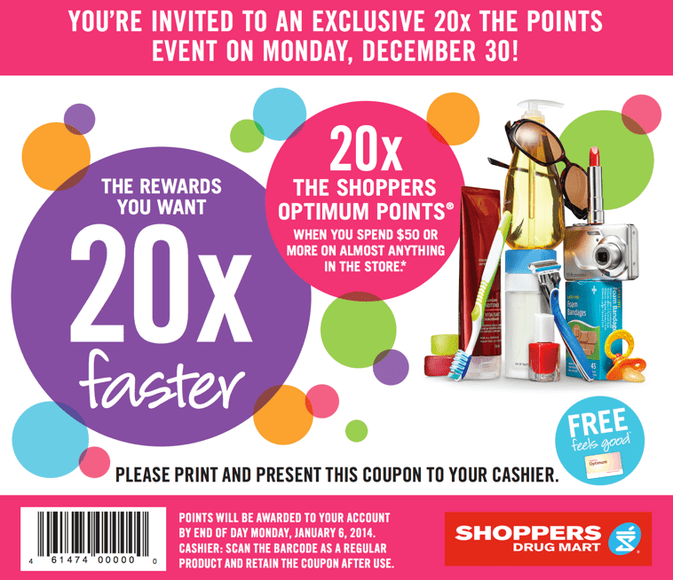Shoppers Drug Mart Canada Optimum Points Offers Shoppers Drug Mart Canada Offers: Get 20x the Optimum Points when You Spend $50 Monday, December 30