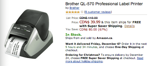 amazon.ca 1 Amazon.ca deals: Get Brother QL 570 Professional Label Printer For $39.99, Save 67%