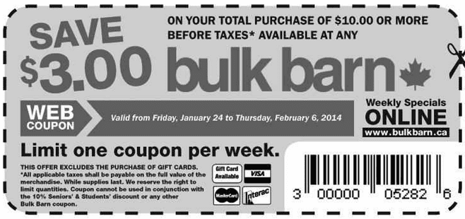 Bulk Barn Printable Coupons1 Bulk Barn Canada Printable Coupons: Save $3 on Your Purchase of $10